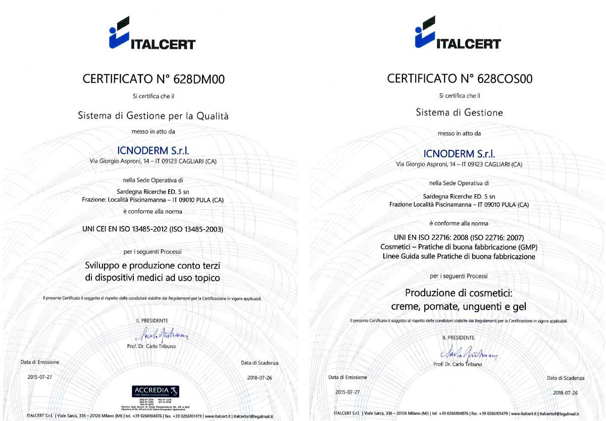 Certificazioni Icnoderm